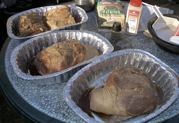 marinated pork shoulders