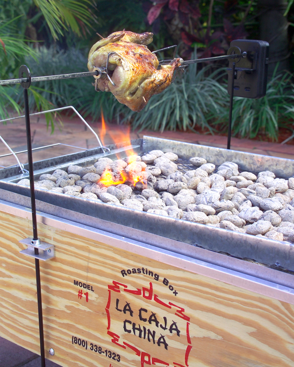 Beautifully roasted chicken woth the rotisserie kit on the model 3 La Caja China