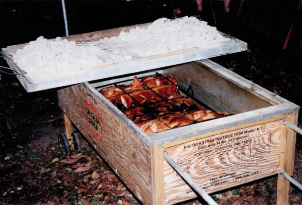 Pig in box from a different angle